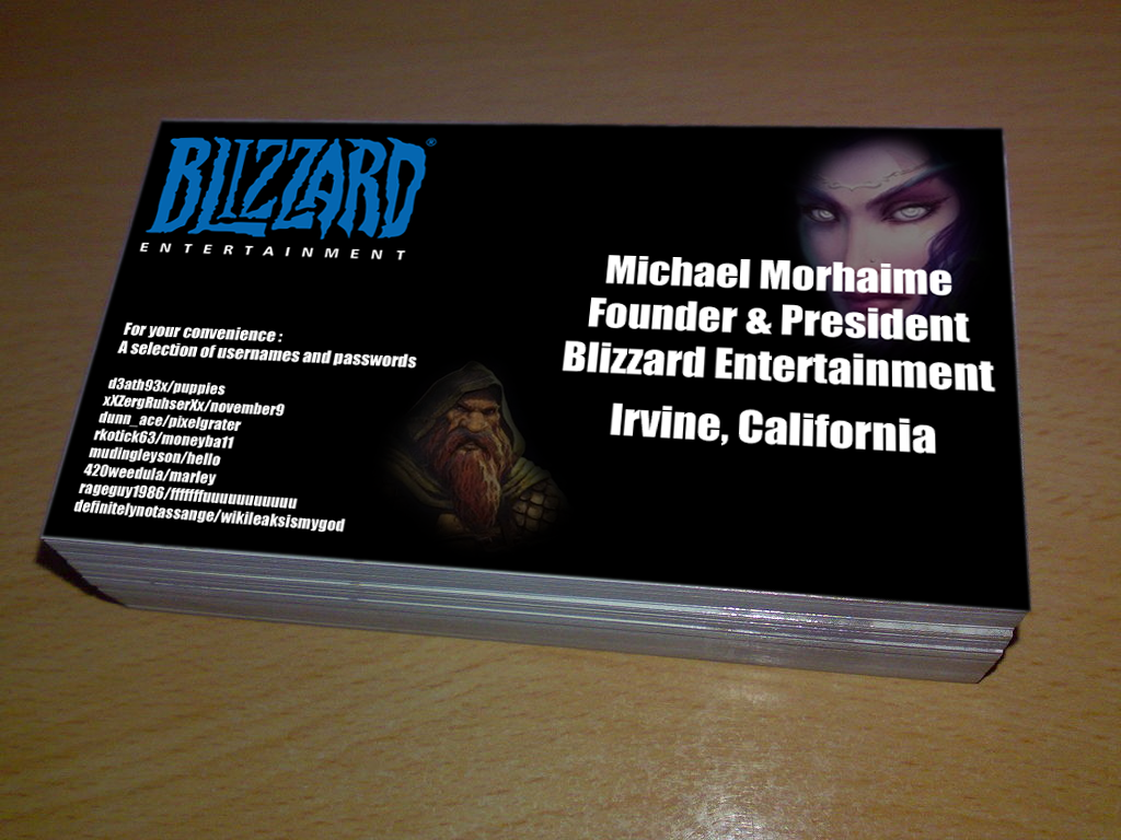Blizzard accidentally give away passwords on business cards colourmoves